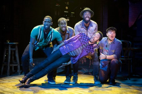 Smokey Joe's Cafe: Jelani Remy, Shavey Brown, John Edwards, Dwayne Cooper, and Max Sangerman. Photo credit: Joan Marcus