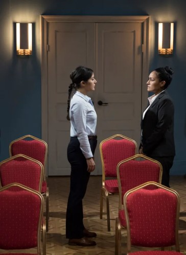 """""""Intractable Woman"""" Nadine Malouf and Nicole Shalhoub. The three actresses take turns portraying Anna Politkovskaya and the people she interviewed on both sides of the conflict."""