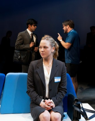 Adelaide Clemens (foreground) with Eshan Bajpay (left) and Robert Petkoff