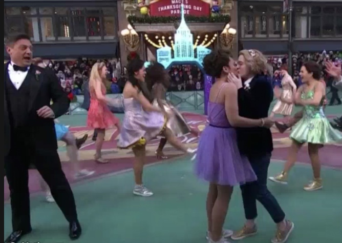 The re-enactment of the same-sex kiss from The Prom at the Macy's Thanksgiving Day Parade in 2018 mock-shocked Christopher Sieber (left.)