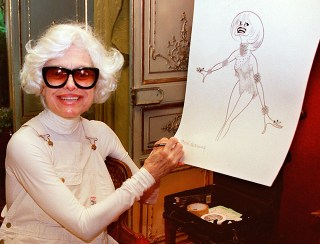 Carol Channing in 1997with her caricature