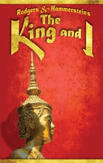 "For this, his favorite musical, Fraver was directed to make it feel like a travel poster. ""Throughout the King and I poster history, I always felt that the lead character of the schoolteacher was shortchanged. The focus is always on His Majesty. Here I bring Mrs. Ann front and center along with a gilded symbol of Siam."""