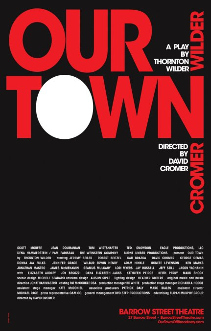 """Barrow Street Theater's founding producer Scott Morfee: In Fraver's artwork for Our Town, """"It's the """"O"""" as the moon that moves the needle; it is subtle, peaceful and notes Wilder's fascination with the sun, the moon and the stars --all major elements in his masterful play."""""""