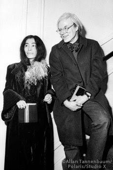 Yoko Ono with Warhol at opening of Man on the Moon