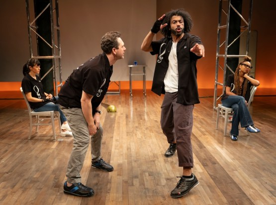 Zoë Winters, Thomas Sadoski, Daveed Diggs, and Sheria Irving in the world premiere of White Noise, written by Suzan-Lori Parks and directed by Oskar Eustis, running at The Public Theater. Photo credit: Joan Marcus.