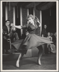 "Gwen Verdon performing Two Lost Souls in Damn Yankees, 1955. It was the first show in which she worked with Bob Fosse, who is credited as ""staging the dances and musical numbers"""