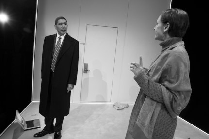 "Peter Francis James as Barack Obama and Laurie Metcalf as Hillary Clinton in Lucas Hnath's ""Hillary and Clinton"" on Broadway in 2019"