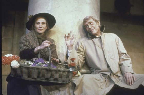 """Actor Peter O'Toole as Henry Higgins and Actress Amanda Plummer as Eliza Doolittle posing in the play """"Pygmalion,"""" 1987"""