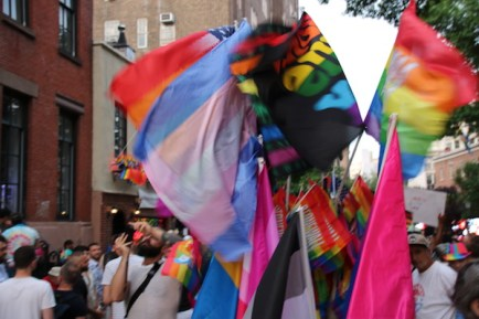 flags in front of Stonewall Inn