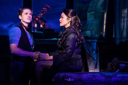 Aaron Tveit as Christian and Karen Olivo as Satine