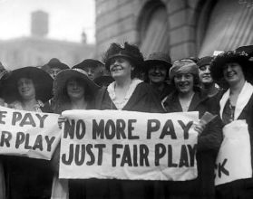 Marie Dressler, founding President of Chorus Equity, center, and actress Ethyl Barrymore, at far right in hat on the picket line of the 1919 strike.