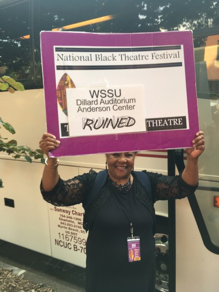 """The bus to """"Ruined."""" The venues are spread throughout the city of Winston-Salem, so the festival provides buses."""