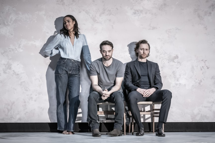 Zawe Ashton as Emma, Charlie Cox as Jerry (Emma's adulterous lover), and Tom Hiddleston as Robert (Emma's husband and Jerry's best and oldest friend)