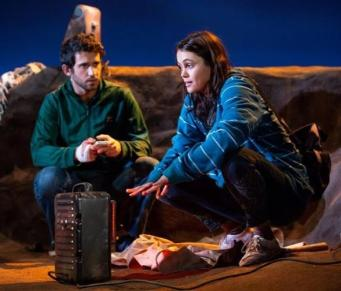 "Darius Homayoun and Dina Shihabia as two Syrian refugees in a camp, in ""Power Strip"" by Sylvia Khoury"