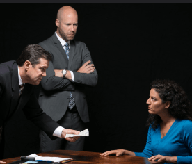 "William Ragsdale (left), Greg Brostrom (center), and Soraya Broukhim (right) in a scene from ""The Hope Hypothesis"" by Cat Miller at the Sheen Center"