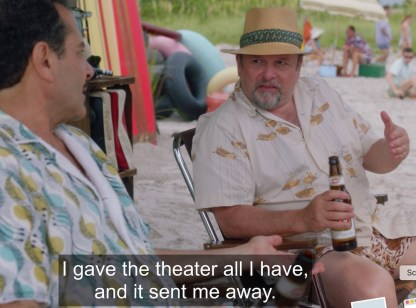 """Jason Alexander as a blacklisted playwright talking to Mrs. Maisel's father in """"The Marvelous Mrs Maisel"""""""