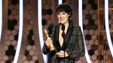 "Phoebe Waller-Bridge accepting the award for Best Actress - TV Series, Musical or Comedy for ""Fleabag."" She recently brought the one-woman stage version of ""Fleabag"" to Soho Playhouse"