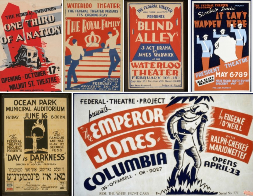 These posters advertise some of the plays that were produced as part of the Federal Theatre Project, which encouraged experimentation, and made it possible for millions of Americans to see live theater for the first time.