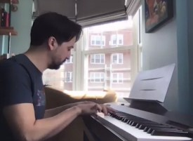 At home, Lin-Manuel Miranda singing from Hamilton live for The Tonight Show with Jimmy Fallon