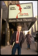 "Playwright Terrence McNally standing in front of Martin Beck Theater where ""The Rink"" was playing in 1984, the Kander and Ebb musical for which he wrote the book, his first musical on Broadway"