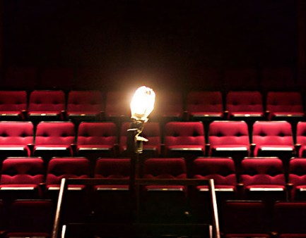 ghost light in an empty theater
