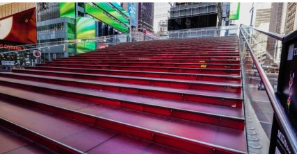 The famous red steps above the TKTS booth in Father Duffy Square in the theater district, uncharacteristically empty.