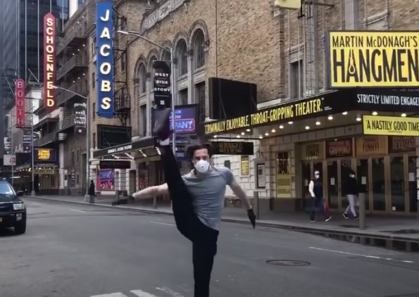 """Paul McGill, a six-time Broadway veteran, making his debut at the age of 17, is the only Broadway hoofer left on Broadway -- but just for a moment. He kicks up his heel on 45th Street, as part of a terrific video (see below) by the cast of """"A Chorus Line"""" 2006 Broadway revival. This is just one of the many steps that members of the theater community are taking to raise morale, keep busy, and kick start a whole new era of theater-making in the face of devastating challenges."""