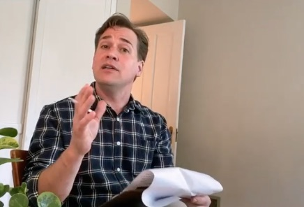 """T.R. Knight in """"Transition"""" by David Lindsay-Abaire, one of the plays from 24 Hour Plays' Viral Monologues, Round 3"""