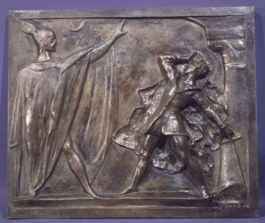The Actor Rouvière in the Role of Hamlet, Recoiling Before the Ghost 1866. The composition was designed for the tomb of the actor Philibert Rouvière in Montmarte Cemetery in Paris. The tomb relief was subsequently stolen. In this cast from the Barbedienne foundry, Préault's signature was effaced and replaced with that of the much later sculptor Dalou.