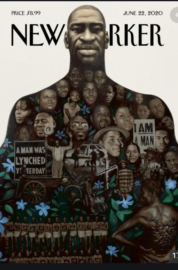 "The cover of the New Yorker magazine this week is a collage by Kadi Nelson of murdered black people . The head is of George Floyd. Those in his body include some two dozen figures from Ahmad Arbery to Martin Luther King Jr, Emmett Till, the Tulsa Race Massacre, ""the unnamed."" For details (biographies, and interactive location of each figure), go to https://www.newyorker.com/culture/cover-story/cover-story-2020-06-22"