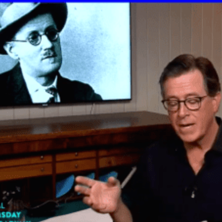 Stephen Colbert with James Joyce picture