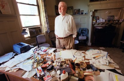Eric Bentley in his apartment in 2000