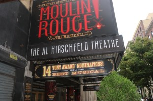 Outside the Al Hirschfeld, where Moulin Rouge has been nominated for 14 Tony Awards -- and has added that to its marquee