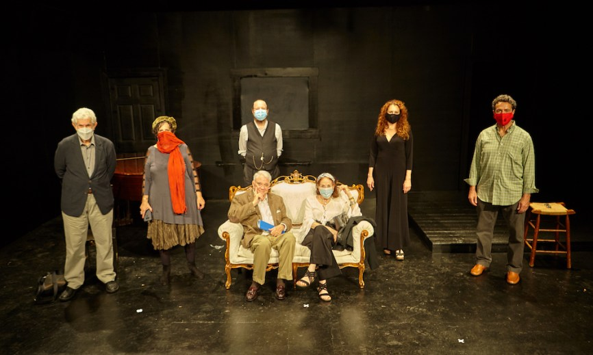 Standing: Tony Roberts, Susan Charlotte, Loran Otway (owner of Theatre 80), Jodie Markell and Stephen Schnetzer. Sitting: Rex Reed and Louise Sorel. Photo by James Salzano