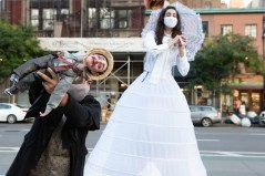 "Persephones Squires with Toulouse-Lautrec puppet by James ortiz, and Megan Khaziran under her dress, in a scene from ""Voyeur"""