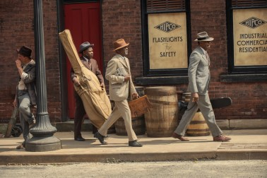 "Ma Rainey's Black Bottom (2020): (L to R) Michael Potts (""Slow Drag""), Glynn Turman (""Toldeo""), Colman Domingo (""Cutler""). Cr. David Lee / Netflix"