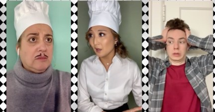 Marty Testa as Chef Skinner, Ashley Parker as Camille, Feldman as Linguini