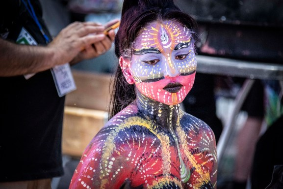 Annual nude body painting event in Times Square
