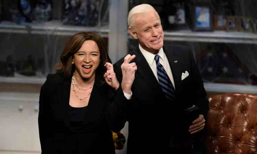 Maya Rudolph as Kamala Harris and Jim Carrey as Joe Biden on Saturday Night Live. Carrey retired from his impersonation after six episodes. It's too soon to see President Biden depicted on stage -- not least because theaters have not reopened -- but it's coming.