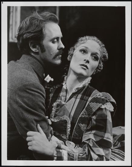 "John Lithgow as Captain Thorne and Meryl Streep as Edith Varney in ""Secret Service"" 1976"