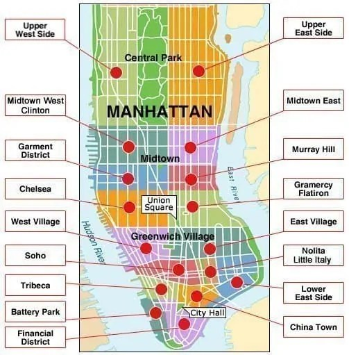 mappa quartieri manhattan zone