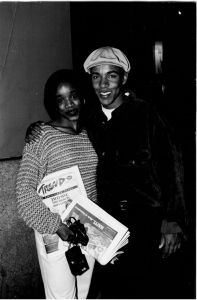 In this picture, New York Trend's former Editor, LaShawn Francis, shares the latest issue of New York Trend with actor, Allen Payne.