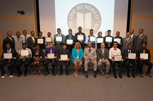 2015 scholarship award winners surround leadership, members, staff and supporters of The One Hundred Black Men, Inc. of New York at its scholarship awards ceremony held at the Metropolitan Museum of Art. Photo courtesy of The One Hundred Black Men, Inc. of New York