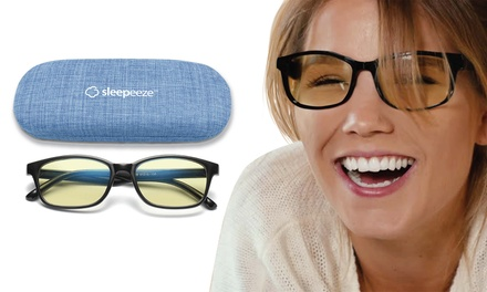 Blue Light Blocking Glasses Amber Tint with Anti Glare Filter: One ($17) or Two Pairs ($25)