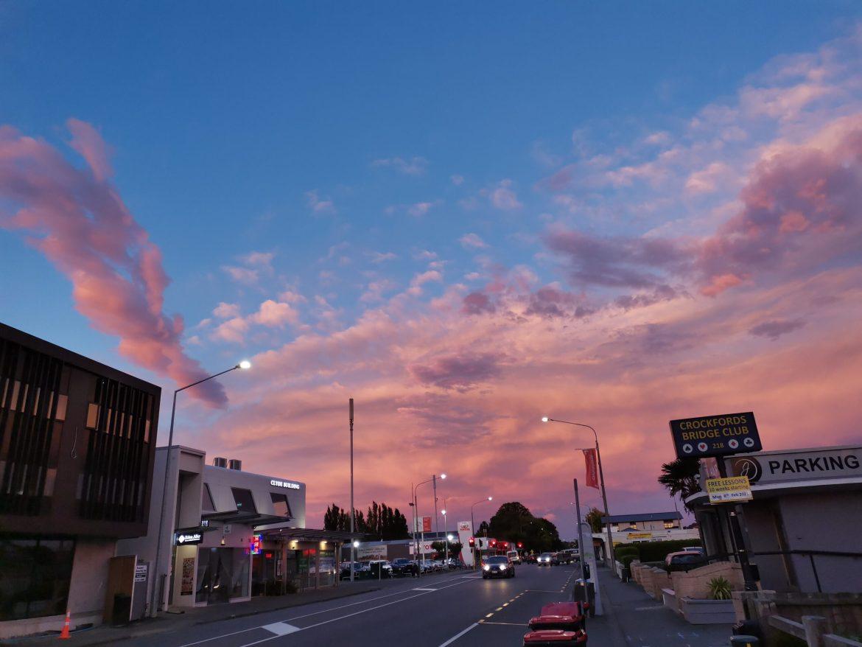 基督城早晨的霞光,美丽万丈