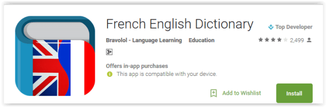 French English Dictionary by Bravolol