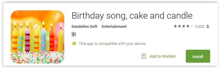 Birthday song, cake and candle