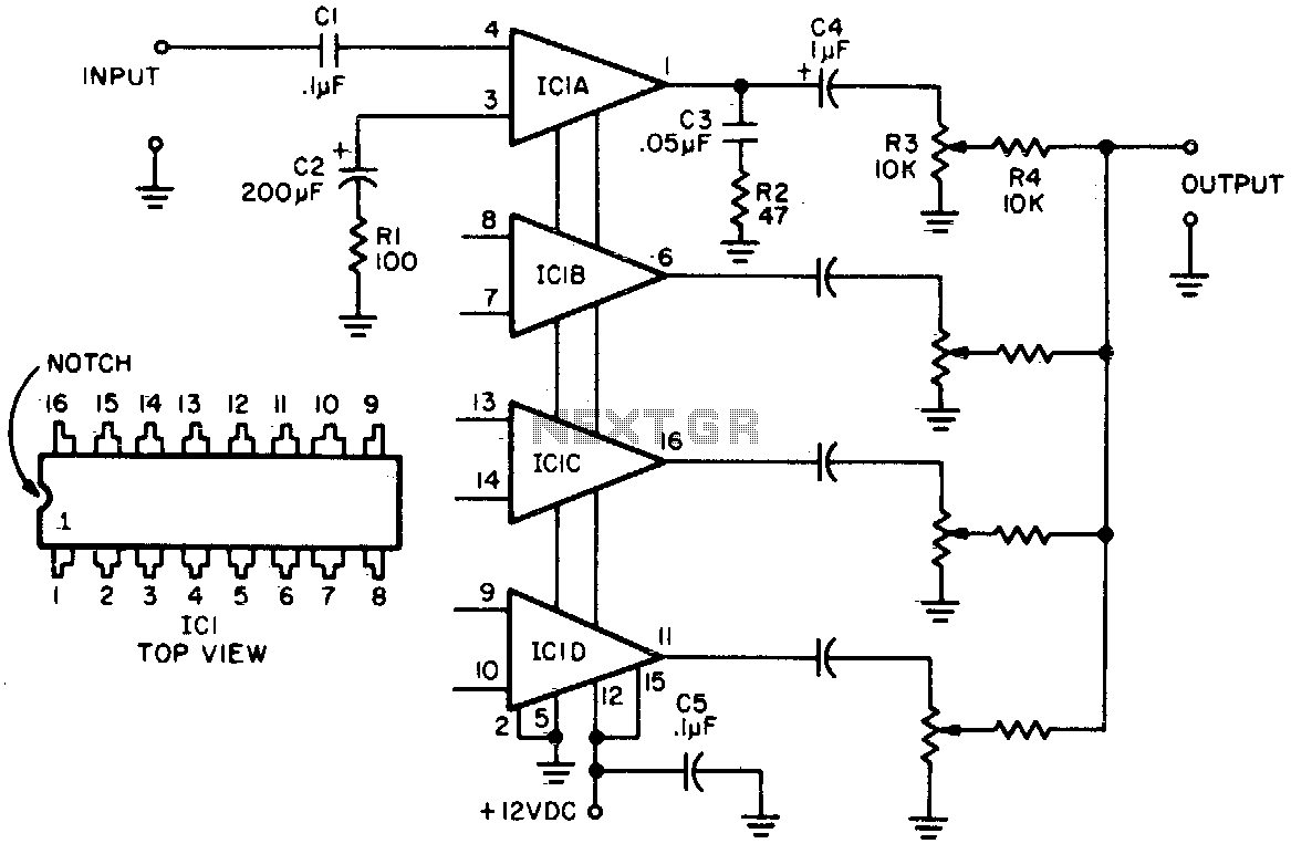 High-level Four-channel Mixer Under Audio Mixer Circuits