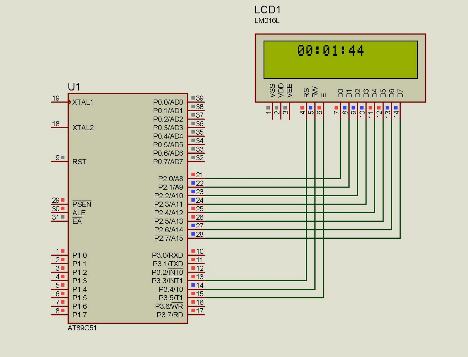 LCD CLOCK USING 8051 (89s51) Microcontroller Under