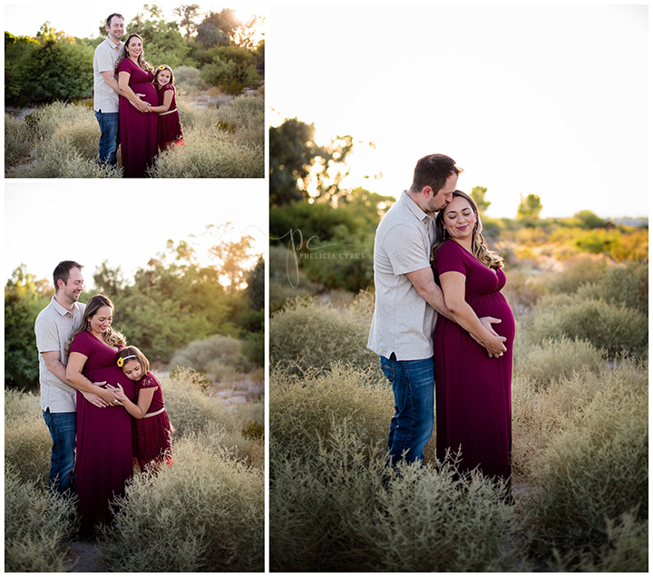 couples maternity session in las vegas desert